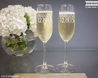 Personalized Wedding Toasting Flutes - (Set of TWO) Custom Engraved Vina Champagne Glasses - Wedding Gift - Engagement Anniversary Gift