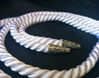 White handfasting cord - silky twisted cording with silver metal aglet/endcap