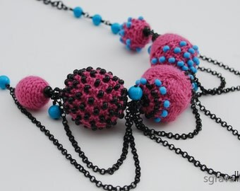 Pink Blue Black Necklace. Deep Pink Sky Blue Hand Knitted With Beads Pendant Chain Choker. OOAK Fashion Jewelry. BROOKLYN Necklace.