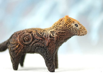 Bush Dog Animal Totem Dog Skulpture Figurine Art Fantasy Animals pooch pariah dog