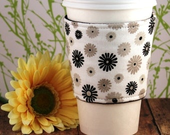 CLEARANCE / Fabric Coffee Cozy / Neutral Flowers Coffee Cozy / Flower Coffee Cozy / Coffee Cozy / Tea Cozy