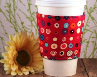 Fabric Coffee Cozy / Circle Dots Coffee Cozy / Polka Dot Coffee Cozy / Coffee Cozy / Tea Cozy