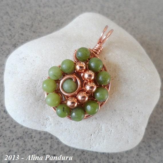 REVERSIBLE Copper Olive Jade Pendant Copper Pendant