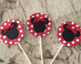 12 Minnie Mouse Cupcake Topper - Red w/ White Polka Dots
