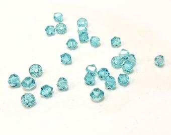 Swarovski Crystal 4mm Bicone, 24 Light Turquoise Blue Bicones, Blue Bicones, Beading Supplies, Item 137b