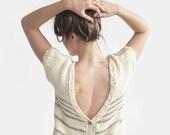 Hand Knit Womens Cardigan, Cotton Open Back Sweater, Short Sleeve Cardigan in Light Ecru, Backless Sweater Top