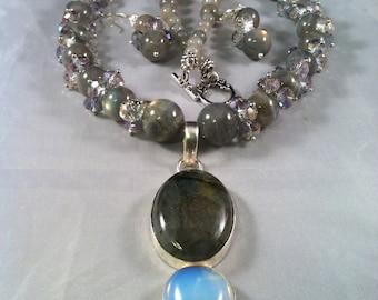 Labradorite Necklace Set/ Flashy Labradorite, Moonstone & Crystal Necklace Set/ Statement Labradorite