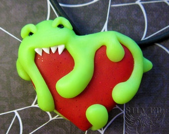 """Fun """"Eat Your Heart Out"""" Polymer Clay Slime Monster Eating a Heart Pendant Necklace"""