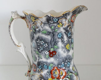 Antique Vintage Pitcher Victorian Floral Transfer Print Water Jug with Decorative Handle and Scalloped Rim Circa 1890's