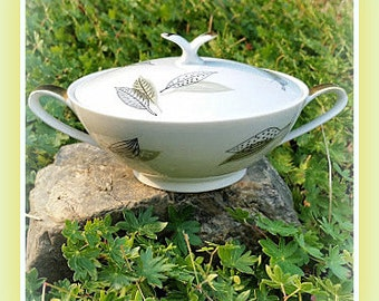 Noritake China 5578 Japan Small Serving Sugar Bowl Dish With Lid Sage Green Black Gold Leaves Leaf Pattern 1950's Dinnerware