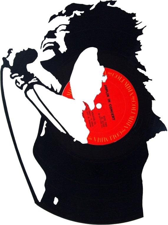 Janis Joplin Silhouette Vinyl Record Art