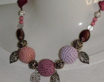cotton rose necklace