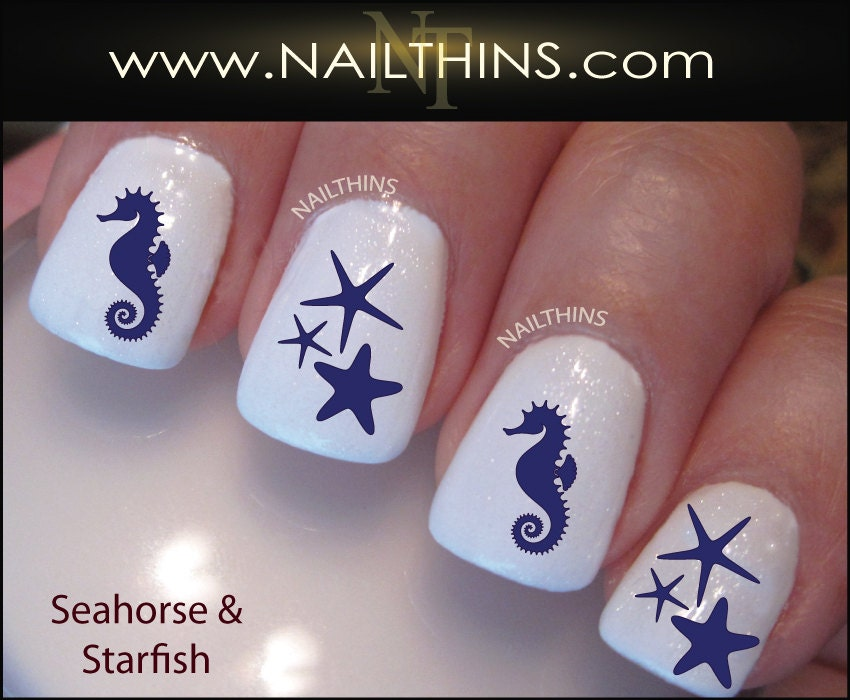 🔎zoom - Nail Decals Seahorse And Starfish Nail Art Designs By