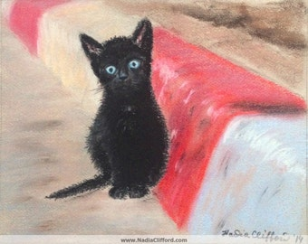 "Black Kitten on a Sidewalk - 8"" x 10"". Profits go to help homeless cats. Giclee print of original pastel painting"