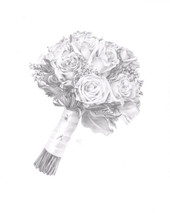 Items Similar To Custom Wedding Bouquet Drawing, Bouquet