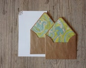 Handmade writing set - letter writing cotton paper - blue green pastel rustic-eco friendly recycled kraft brown envelope-europeanstreetteam