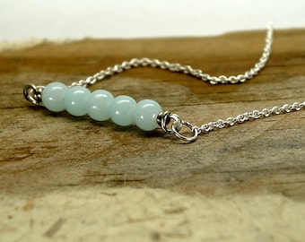 Light blue beaded necklace , sterling silver crystal beads necklace , Pastel blue crystal beads necklace , birthstone charm necklace