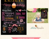 INSTANT DOWNLOAD - 20x30 First Birthday Chalk Board Printable Sign Prop - Photoshop Template - CB7