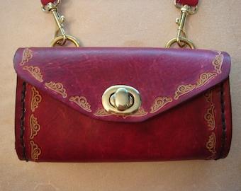 Tara Tooled Red Leather Crossbody Bag - Small Purse - Handbag - Wave 153