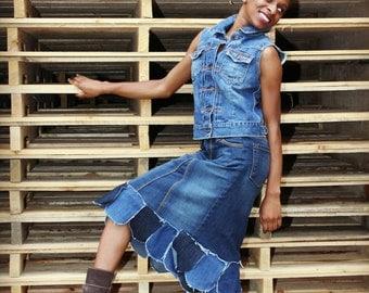 Custom BOHO Knee-Length Petal Asymmetrical Flare hem Distressed Long Denim Skirt 0-24
