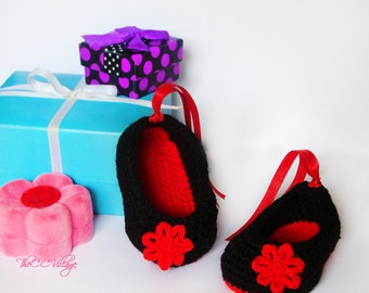 Black crochet baby girl shoes, red flower or bow Crochet Shoes, Slippers crochet Baby shoes