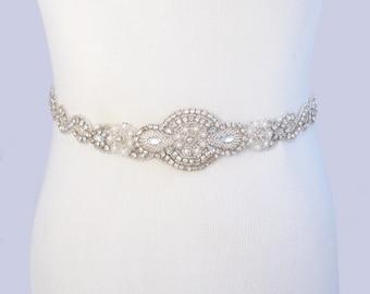 Infinity Wedding Dress Sash, Satin Ribbon Bridal Belt, Silver Crystal Rhinestone Sash Belt, Jeweled Beaded Pearl Sash, 35 Satin Colors