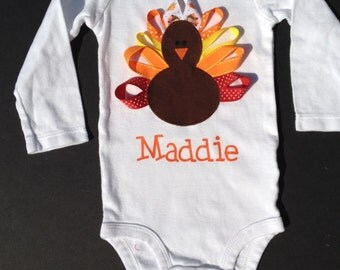 Personalized Girl Thanksgiving Bodysuit or Shirt - Baby, Infant, Toddler, Child  - First Thanksgiving Outfit- Ribbon Turkey
