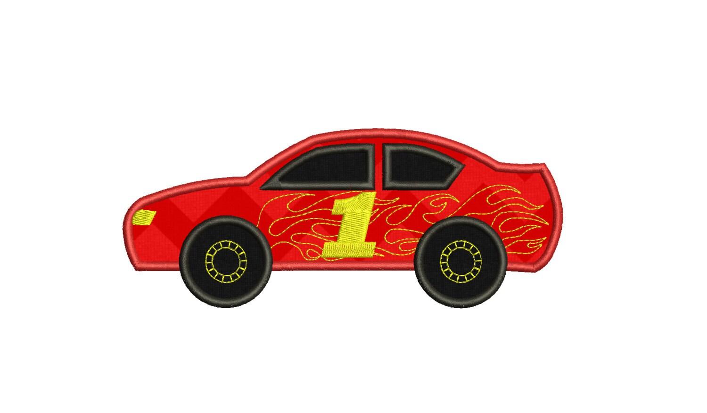 Race Car Applique Machine Embroidery Design Stock Race Car