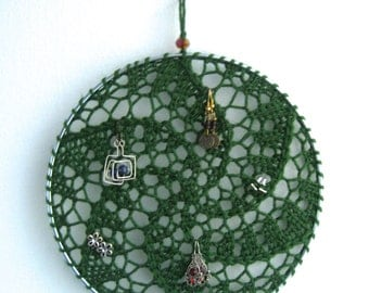 Earring Holder - Green / Jewelry Organizer / Jewelry Display / Suncatcher / Dreamcatcher