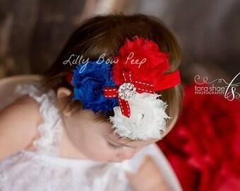 4th Of July Headband-Baby Headband-Preemie-Newborn Headband-Patriotic Headband-Nautical-Infant-Toddler-Child-Military Headband-Baby Hair Bow