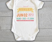 Baby Onesie - Birth Baby Announcement Personalized Customized Baby Name Initials