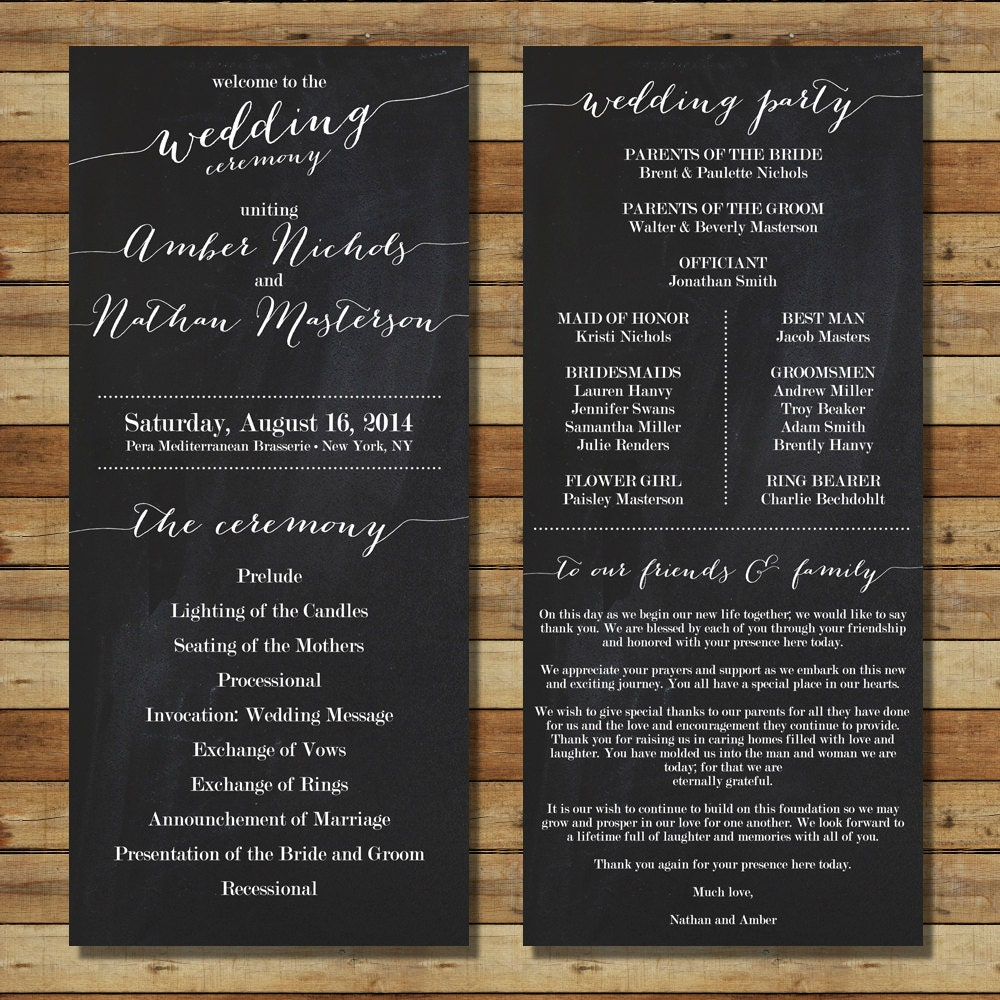 Items Similar To Chalkboard Wedding Program