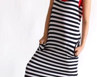 Stripped Bib Skirt / Pinafore Dress/ Overalls