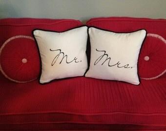 Mr. & Mrs. Pillows // 18x18 Down Filled //  Handmade Pillow // Wedding Pillows // Wedding Decor