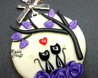 Cats staring at the Full Moon Necklace - Handmade in Polymer Clay