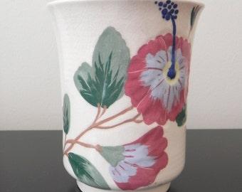 Vintage Weil Ware California Pottery Vase, Hibiscus Design