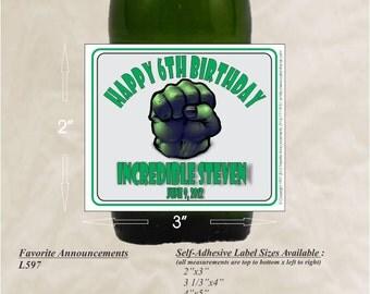 Birthday Labels, Hero Labels, Birthday Stickers, Boys Birthday Party, Party Stickers, goody bags, Happy Birthday (Qty 24)(L597)