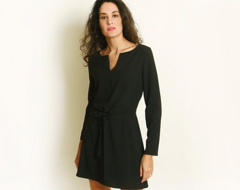 Mini A line Dress in Black long sleeve dress black dress evening dress casual dress v boat neckline holiday christmass