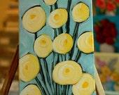 Original Acrylic Painting - Baker's Dozen - Rustic Modern Folk Art - Yellow Flowers in Purple Vase