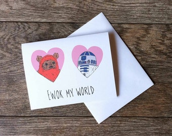 Ewok and R2-D2 Star Wars Greeting Card