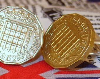 Boxed Pair Vintage British 1962 Threepence 3d Coin Cufflinks Wedding 55th Birthday