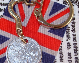 Lucky 1966 6d Sixpence English Coin Keyring Key Chain Fob Queen Elizabeth II