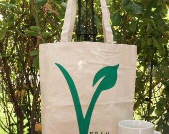 Vegan Hand painted 100% cotton canvas tote-vegan