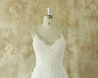 Ivory chiffon A line wedding dress with beading Straps