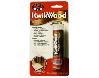 JB KwikWood WOOD & Furniture REPAIR Epoxy adhesive Putty Stick 2 Part quick Filler glue sand or drill J-B Weld 8257