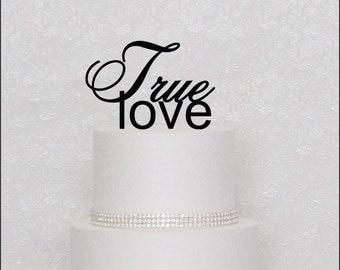 True Love Monogram Wedding Cake Topper in Black, Gold, or Silver