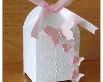 Floral Butterfly Birdcage Wedding Favour Boxes