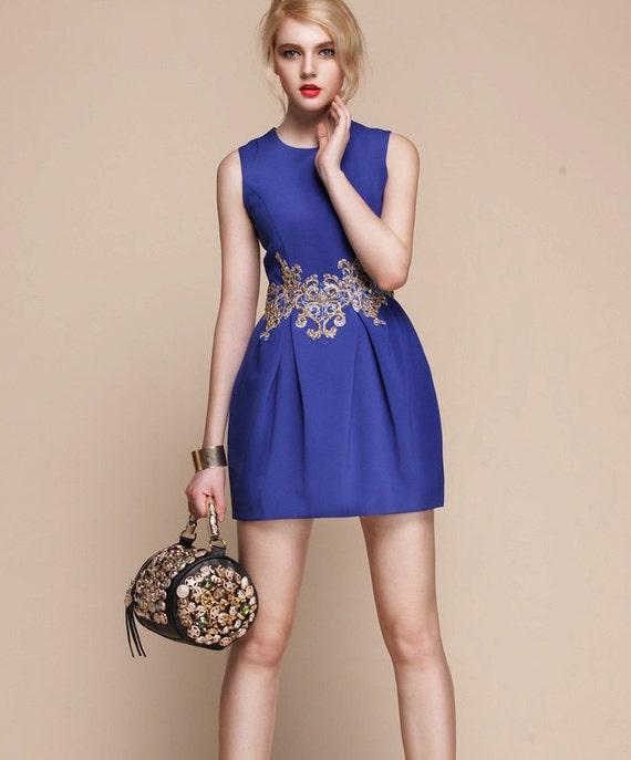 Items similar to royal blue dress eu s m us gold