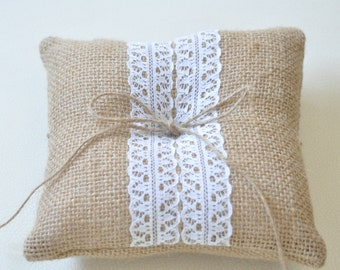 Burlap ring pillow Burlap Ring Bearer cushion with White cotton trims Ring cushion Woodland / Rustic / Cottage style Weddings