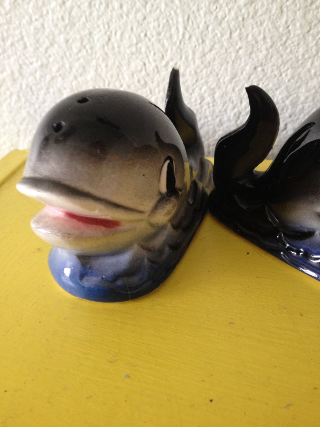 Set Of Vintage Whale Salt And Pepper Shakers By